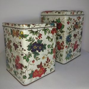 Vintage 70s Two Daher Floral Containers